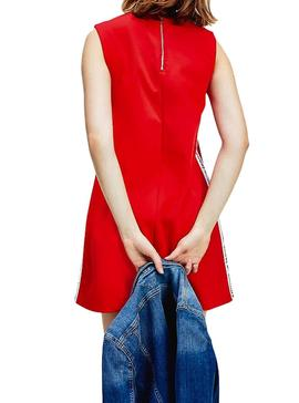 Vestido Tommy Jeans Tape Detail Rojo Para Mujer