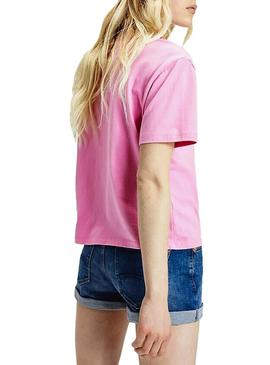 Camiseta Tommy Jeans Colored Logo Rosa Mujer