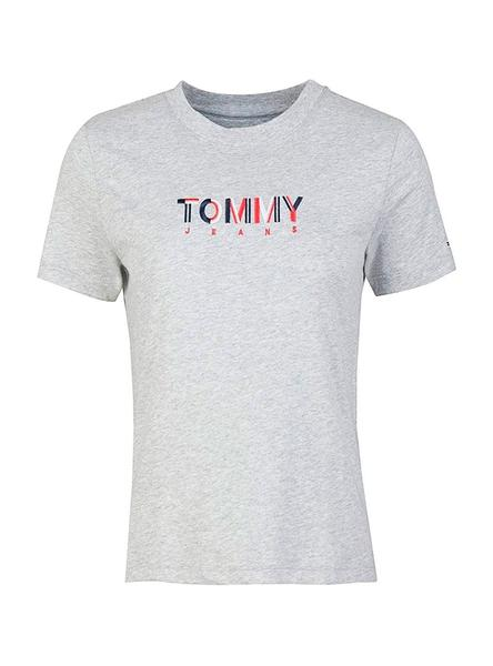 Camiseta Tommy Jeans Multicolor Logo Gris Mujer