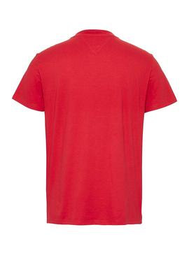 Camiseta Tommy Jeans Chest Stripe Rojo para Hombre