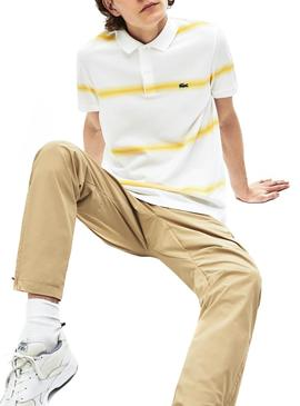 Polo Lacoste Stripe Degrade Amarillo para Hombre