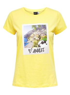 Camiseta Only Snoopy Amarillo para Mujer
