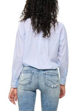Camisa Only Carry Azul para Mujer