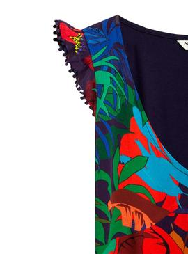 Camiseta Naf Naf Tropical Multicolor Para Mujer