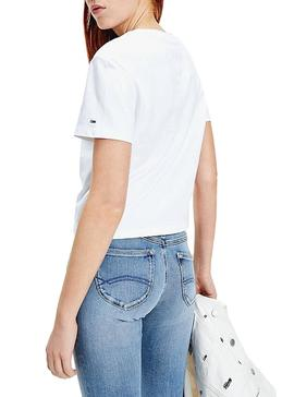 Camiseta Tommy Jeans Flag Blanco para Mujer