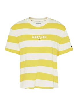 Camiseta Tommy Jeans Stripe Amarillo para Mujer