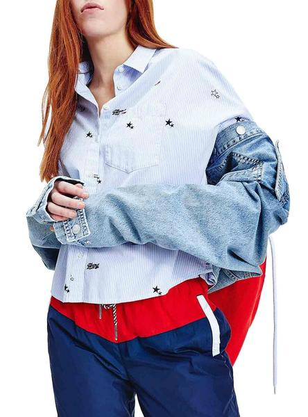 Camisa Tommy Jeans Critter Azul para Mujer
