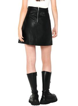 Falda Only Lisa Faux Leather Negro Para Mujer