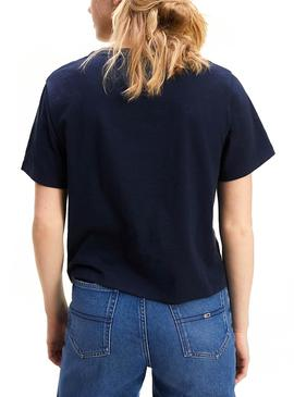 Camiseta Tommy Jeans Signature Logo Azul Mujer