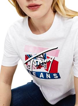 Ccamiseta Tommy Jeans Signature Logo Blanco Mujer