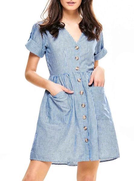 f5ee9b90cf6a Vestido Only Tammy Rayas Azul Mujer