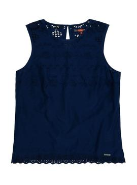 Top Superdry Broderie Azul