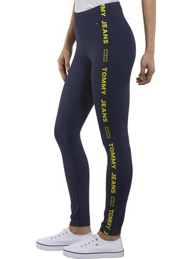 Leggings Tommy Jeans Side Tape Azul Mujer