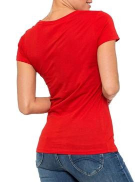 Camiseta Tommy Jeans Essential Slim Rojo Mujer