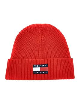 Gorro Tommy Jeans Heritable Rojo para Hombre Mujer