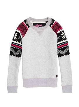 Sudadera Superdry Courchevel Knit Mix Gris Mujer