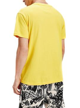 Camiseta Tommy Jeans Pieced Band Amarillo Hombre