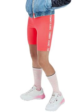 Leggings Tommy Jeans Fitted Bike Rosa para Mujer