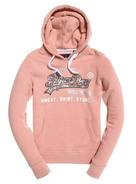 Sudadera Superdry Sequin Entry Rosa