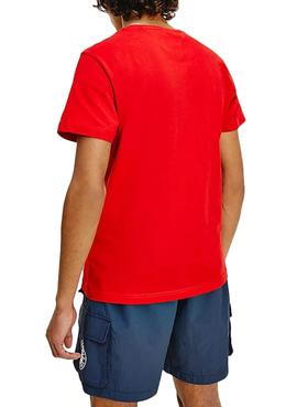 Camiseta Tommy Jeans Center Chest Rojo para Hombre