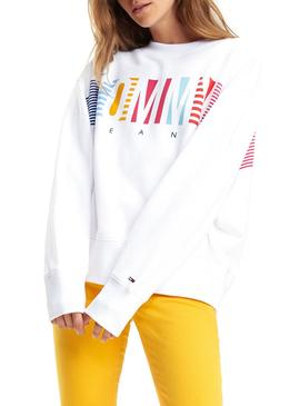 Sudadera Tommy Jeans Colorful Block Blanco Mujer